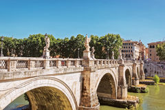 Ponte Sant Angelo Bridge in Rome Italy. Ponte Sant Angelo Bridge over the Tiber River, in Rome in Italy. It is is also called as the Bridge of Hadrian Stock Images