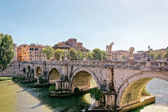 Ponte Sant Angelo Bridge in Rome in Italy Stock Images
