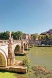 Ponte Sant Angelo Bridge in Rome of Italy. Ponte Sant Angelo Bridge over the Tiber River in Rome of Italy. It is is also called as the Bridge of Hadrian Stock Image