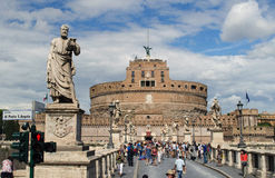 Ponte sant angelo and castel in rome. ROME, ITALY: MARCH 18: Romans outraged over soccer hooligans abusing a beggar on the ponte sant angelo in rome, march 18 Stock Photo