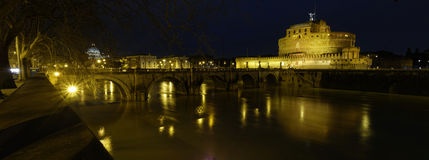 Ponte Sant'Angelo @ noc Obraz Stock