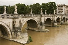 Ponte Sant Angelo. Rome, Italy. Stock Photos
