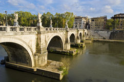 Ponte Sant'Angelo in Rome - Italy Stock Image