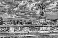 Ponte Sant& x27;Angelo, Rome, Italy. Black and white image of Saint Angelo& x27;s Bridge near the Vatican City Stock Photo