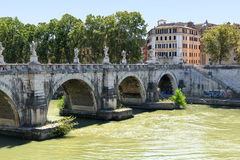 Ponte Sant'Angelo in sunny day. Rome, Italy. Stock Photos