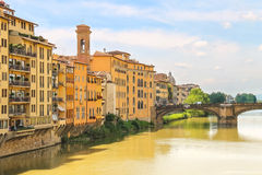 Ponte Santa Trinita bridge over the Arno river  in Florence Stock Photos