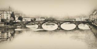 Ponte Santa Trinita, Florence, Italy, pencil drawing Stock Photos