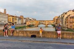 Ponte Santa Trinita i Florence, Italien Arkivbild
