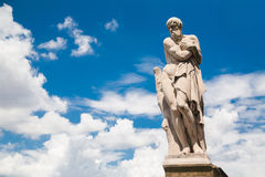 Ponte Santa Trinita Winter statue by in Florence, Italy Royalty Free Stock Photo