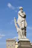 Ponte Santa Trinita Winter staty i Florence Arkivbild
