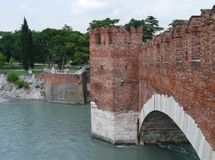 Ponte Scalerio a bridge in Verona in Italy Royalty Free Stock Photo