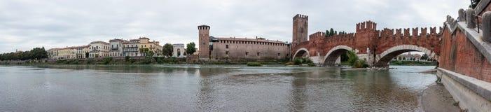 Ponte Scaligero bridge,  Castelvecchio castle and Adige river in Stock Images