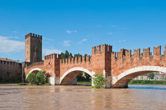 Ponte Scaligero bridge, Verona, Italy Stock Images