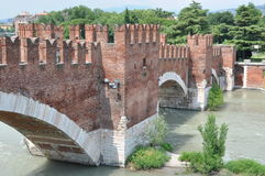 Ponte Scaligero bridge in Verona Royalty Free Stock Image
