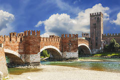 Ponte Scaligero over the river Adige and the castle of Castelvecchio, Verona Stock Photos