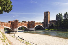 Ponte Scaligero over the river Adige and the castle of Castelvecchio, Verona Royalty Free Stock Image