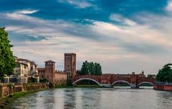 Ponte Scaligero a Verona fotografia stock