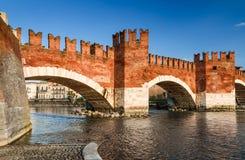 Ponte Scaligero, Verona, Italien Royaltyfri Foto