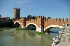 Ponte Scaligero, Verona, Italy Stock Photo
