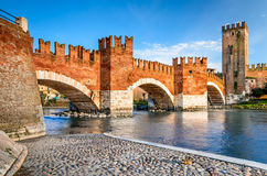 Ponte Scaligero, Verona, Italy stock photography