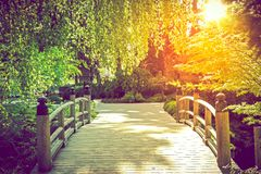 Ponte scenico del giardino Fotografia Stock