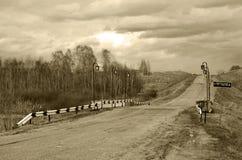 Ponte siberiano insolito circondato di natura Fotografie Stock Libere da Diritti
