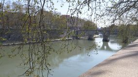 Ponte Sisto and the Fiume Tevere river in Rome Italy stock video footage