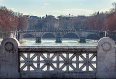 Ponte Sisto from Ponte Mazzini. Tiber river. Bridge Rome Italy. Stock Photo