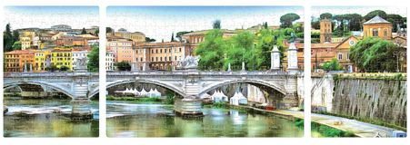 A ponte sobre o Tibre em Roma Panorama do enigma ilustração stock
