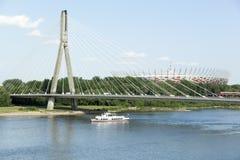 Ponte sopra il fiume di Wistula Fotografia Stock Libera da Diritti