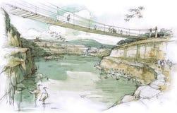 Ponte sopra il lago Immagini Stock Libere da Diritti