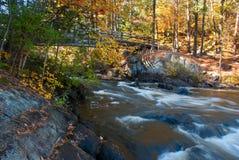 Ponte sopra le rapide, Wiskonsin, U.S.A. del piede Immagini Stock Libere da Diritti