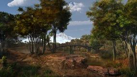 Ponte sopra un fiume della montagna Fotografia Stock Libera da Diritti