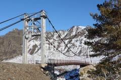 Ponte sospeso attraverso il fiume fra le montagne, Altai, Russia di Katun Immagine Stock