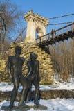 Ponte sospeso da Nicolae Romanescu Park Fotografie Stock Libere da Diritti