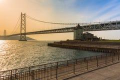 Ponte sospeso di Akashi Kaikyo a Kobe, Giappone Immagini Stock Libere da Diritti