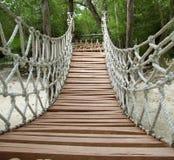Ponte sospeso di legno della giungla della corda di avventura Immagine Stock