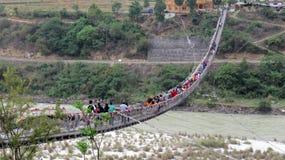Ponte sospeso nel Bhutan immagine stock libera da diritti