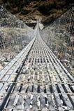Ponte sospeso, Nepal Fotografie Stock