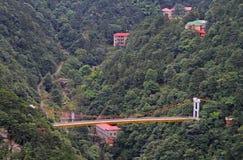 Ponte sospeso in parco nazionale della montagna LU fotografia stock
