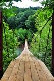 Ponte sospeso sopra gli altopiani del fiume immagine stock libera da diritti