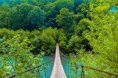Ponte sospeso sopra il fiume tempestoso della montagna fotografie stock