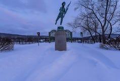 Ponte storico e ristabilito dopo Major Snowstorm - Binghamton, New York fotografie stock libere da diritti