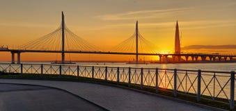 Ponte strallato e diametro ad alta velocità a St Petersburg Immagine Stock Libera da Diritti