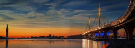 Ponte strallato e diametro ad alta velocità a St Petersburg Immagini Stock Libere da Diritti