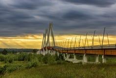 Ponte strallato sopra il fiume Oka immagine stock