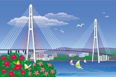 Ponte strallato sull'isola russa royalty illustrazione gratis