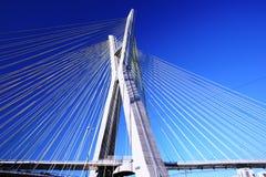 A ponte suspendeu em cabos em um dia ensolarado imagem de stock