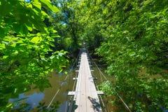 Ponte suspendida do fio através de um rio Fotografia de Stock
