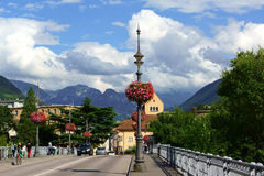Ponte Talvera bridge in downtown Bolzano (Bozen) Royalty Free Stock Photography